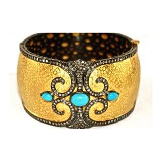 Antiqued Yellow Gold Diamond and Turquoise Bangle Bracelet