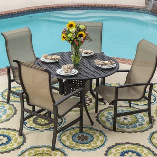 Acadia 5-piece Sling Patio Cast Aluminum Table Set with Stacking Chairs
