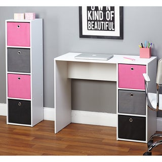 Simple Living Jolie Pink Writing Desk and Bookcase Set