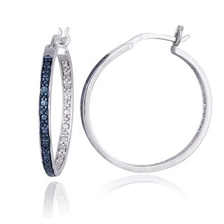 DB Designs Sterling Silver Blue Diamond Accent 25mm Round Hoop Earrings