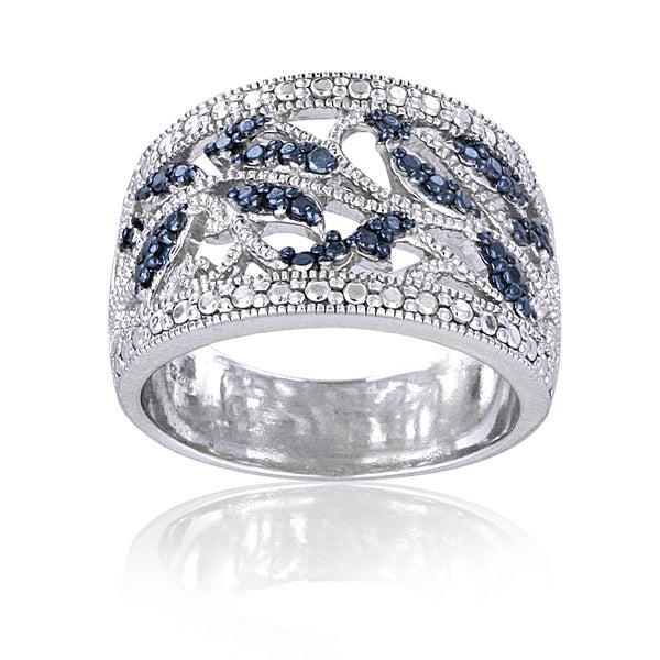 sterling silver blue leaf design ring overstock
