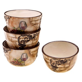 Hand-painted Tuscan View 5.25-inch Ceramic Ice Cream Bowl