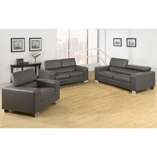 Furniture of America Mazri 3-piece Bonded Leather Sofa Set