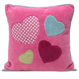 Hearts Applique Embroidered Square Microplush Decorative Pillow