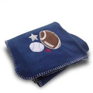 Football/ Baseball Blue Applique Embroidered Fleece Throw Blanket