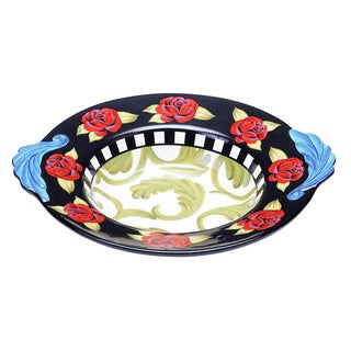 Hand-painted Classic Rose Shallow Ceramic Serving Bowl