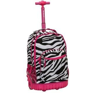 Rockland Pink Zebra 18-inch Rolling Laptop Backpack