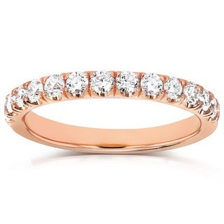Annello 14k Gold 1/2ct TDW Diamond Comfort Fit Flame French Pave Band (G-H, I1-I2)