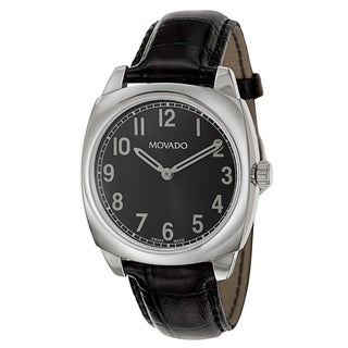 Movado Men's 0606586 'Circa' Black Leather Swiss Quartz Watch