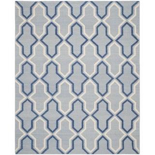Safavieh Hand-woven Moroccan Reversible Dhurries Light Blue/ Dark Blue Wool Rug (9' x 12')