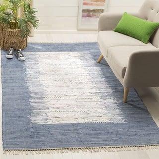 Safavieh Hand-woven Montauk Ivory/ Dark Blue Cotton Rug (9' x 12')