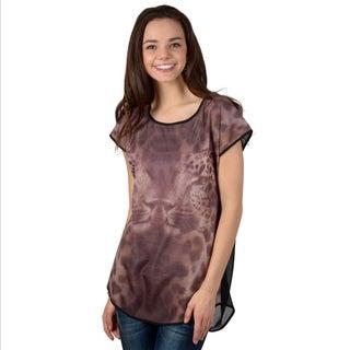 Hailey Jeans Co. Junior's Leopard Print Cut-out Back Top