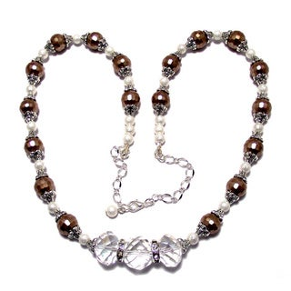 Beige/ White Glass Pearl and Crystal 4-piece Wedding Jewelry Set