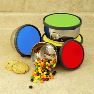ExcelSteel 4-piece Stainless Steel Storage Bowls with Lids Set