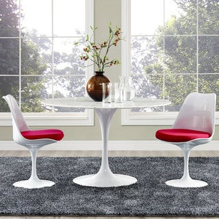 """Lippa Marble Top 47"""" Dining Table in White"""