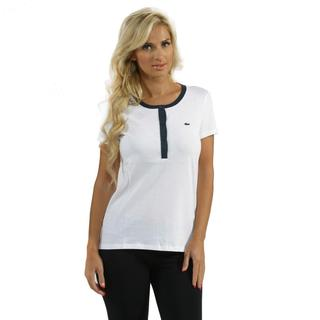 Lacoste Women's White/ Navy Contrast Placket Henley Top