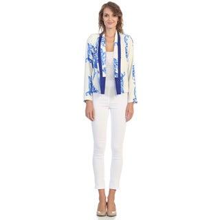 Hadari Women's Contemporary White and Cobalt Filigree Blazer