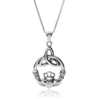 Journee Collection Sterling Silver Claddagh Pendant Necklace