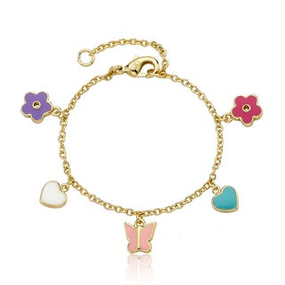 Little Miss Twin Stars 14K Gold Plated Multi-charm Enamel Bracelet
