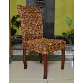 International Caravan 'Jasmine' Woven Abaca Dining Chairs with Mahogany Hardwood Frame (Set of 2)