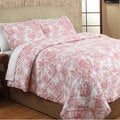 French Toile Red Cotton 3-piece Quilt Set