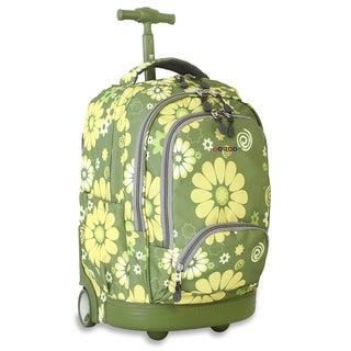 J World New York Khaki Flower Sunbeam 18-inch Rolling Laptop Backpack