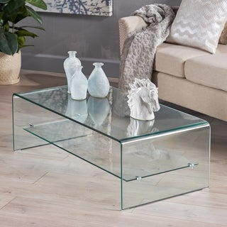 Christopher Knight Home Ramona Glass Coffee Table with Shelf