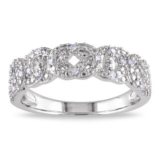 Haylee Jewels Sterling Silver 1/10ct TDW Geometric Diamond Band