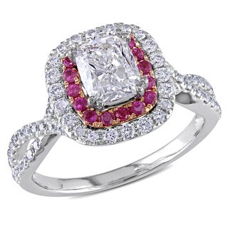Miadora 14k Gold 1 1/2ct TDW Diamond and Pink Sapphire Ring (G-H, I1-I2)