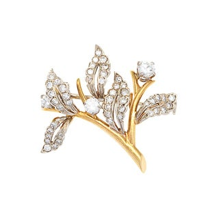Pre-owned Tiffany & Co.18k Yellow Gold 1 1/10ct TDW Estate Leaf Pin (H-I, VS1-VS2)