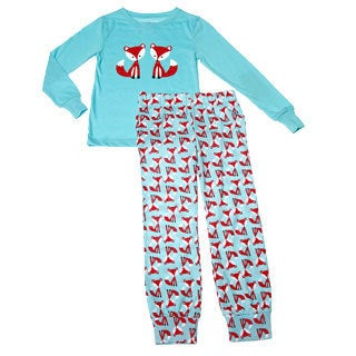 Girls Blue Fox and Friends Printed Long Sleeve Pajama Set