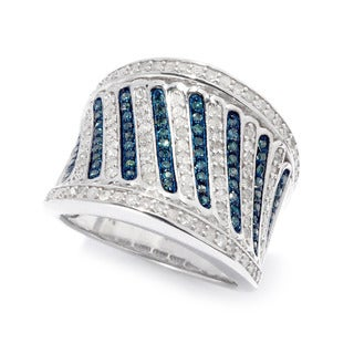 Sterling Silver 1 1/10ct TDW Blue and White Diamond Ring (H-I, I2-I3)
