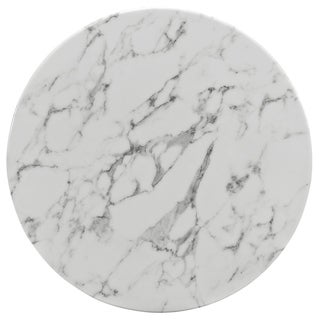 """Lippa Marble 28"""" Dining Table in White"""