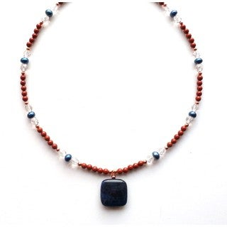 Every Morning Design Red Jasper Sodalite Gemstone Necklace