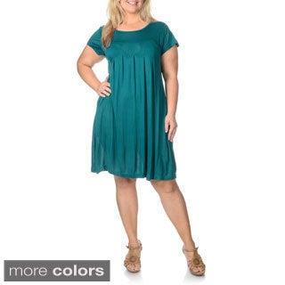 La Cera Women's Plus Size Short-sleeve Knit Pleated Dress