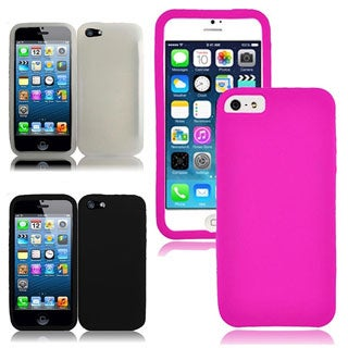 INSTEN Black Rubber Soft Silicone Soft Skin Gel Phone Case Cover for Apple iPhone 5/ 5S