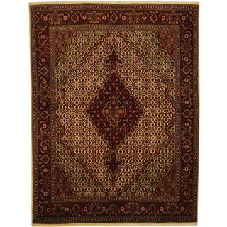Herat Oriental Persian Hand-knotted Tabriz Ivory/ Burgundy Wool and Silk Rug (4'10 x 6'4)