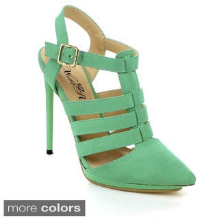 Wildrose Women's 'Clover-02' Pointed Toe Cut-out Pumps