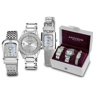 Akribos XXIV Women's Japanese Quartz Diamond Bracelet Watch Set