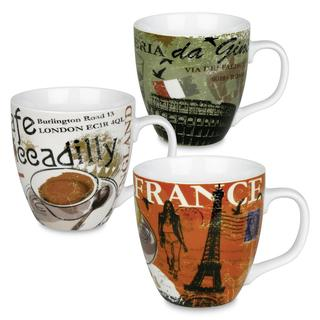 Konitz Cosmopolitan Europe 'Italy, France, England' Mugs (Set of 3)