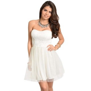 Shop The Trends Women's Formal Ivory Strapless Dress