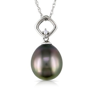 Miadora 10k White Gold Tahitian Pearl and Diamond Necklace (9-9.5 mm)