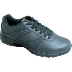 Men's Genuine Grip Footwear Slip-Resistant Athletic Plain Toe Work Shoes Black Leather