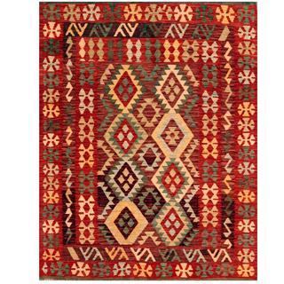Herat Oriental Afghan Hand-woven Tribal Kilim Burgundy/ Peach Wool Rug (4'4 x 5'7)