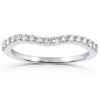 Annello 14k White Gold 1/4ct TDW Curved Diamond Wedding Band Ring (H-I, I1-I2)