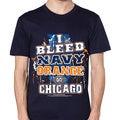 Chicago Football 'I Bleed Navy and Orange Go Chicago!' T-shirt