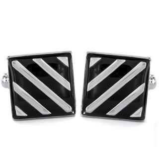 Silvertone and Black Enamel Striped Square Cuff Links