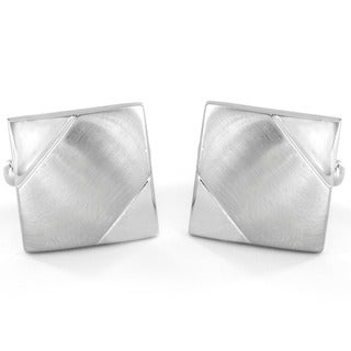 Silvertone Brushed and Polished Square Cuff Links
