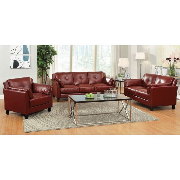 Furniture of america pierson double stitched leatherette 3 for 8 piece living room furniture set
