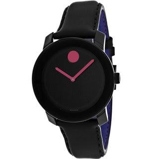 Movado Women's 3600161 Bold Round Black Leather Strap Watch